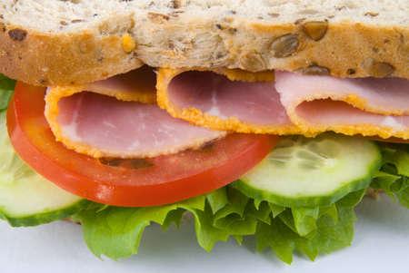 ham sandwich: Vista ravvicinata del panino al prosciutto Archivio Fotografico