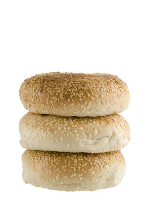A line up of three bagels isolated on a white background Stock Photo - 2813230