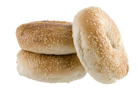 Arrangement of three bagels isolated on a white background Stock Photo - 2813393