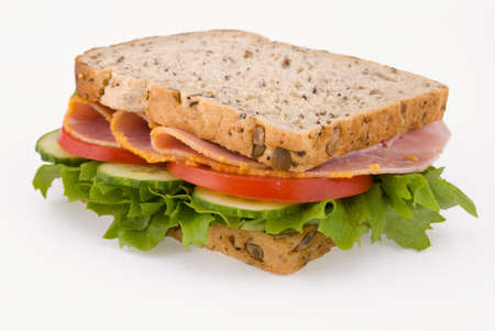 Ham salad sandwich on a plain background photo