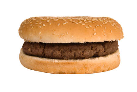 Simple, plain quarter pounder burger in a sesame seed bun  Stock Photo