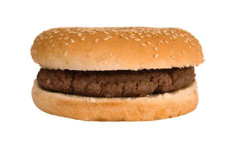 burger on bun: Simple, plain quarter pounder burger in a sesame seed bun  Stock Photo