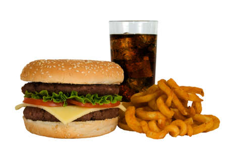 pounder: Double cheeseburger, cola and fries isolated on a white background Stock Photo