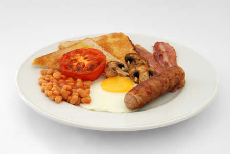 bacon baked beans: Full English Breakfast – Side View – Plain background