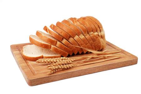 Rustic Sliced Bread on Wooden Board photo