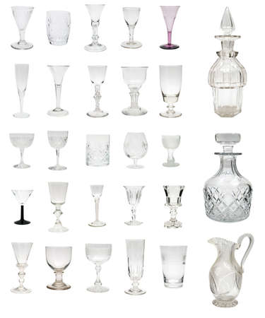 Large selection of antique glass drinkware dating from 1730 to 1930 including some rare and valuable George I period examples photo