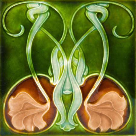 An antique Art Nouveau design majolica tile c1890 Stock Photo - 3109414