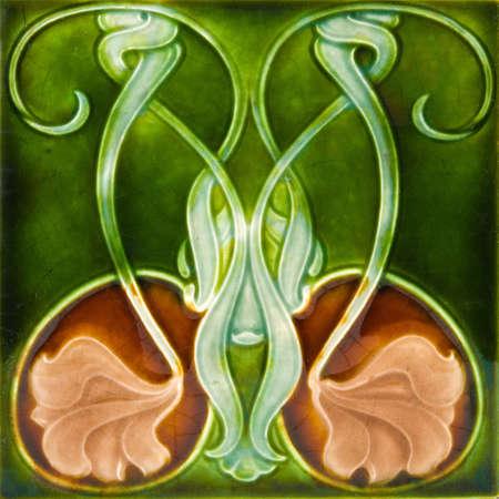 edwardian: An antique Art Nouveau design majolica tile c1890 Stock Photo