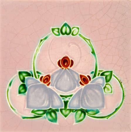majolica: An antique Art Nouveau majolica tile