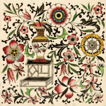 chinoiserie: An antique tile in the Oriental taste with typical decoration