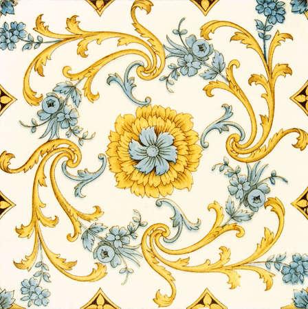 Decorative Victorian period wall tile c1890 Stock Photo