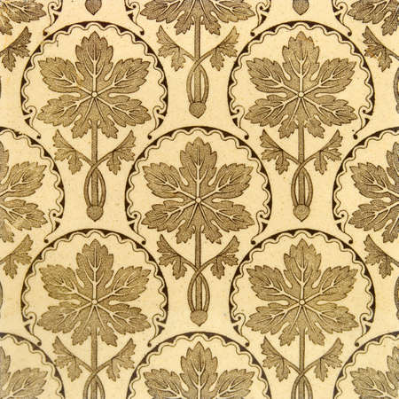 chinoiserie: Antique printed sepia tone tile in the Aesthetic taste c1890