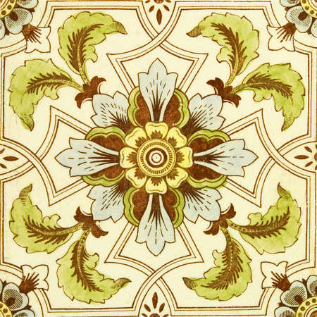 tinted: An antique hand tinted  tile in the Aesthetic taste c1890 Stock Photo