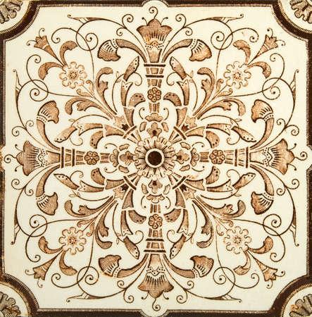 chinoiserie: Antique aesthetic brown cream symmetrical design tile c1880