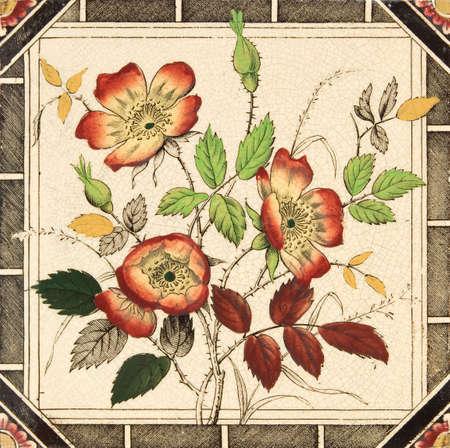 crazed: An antique decorative tile with dog rose design c1880