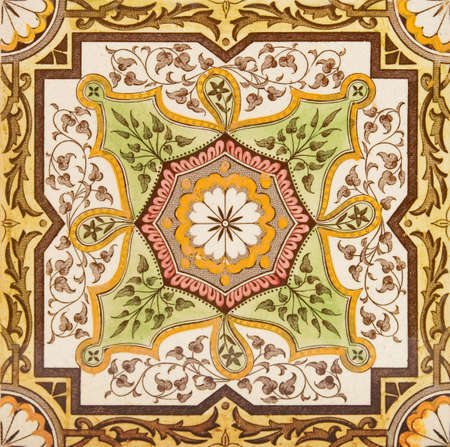 victorian fireplace: Decorative wall tile from the late Victorian period c1880 - Aesthetic style Stock Photo