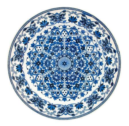 iznik: A Victorian blue & white persian style plate - genuine antiques series Stock Photo