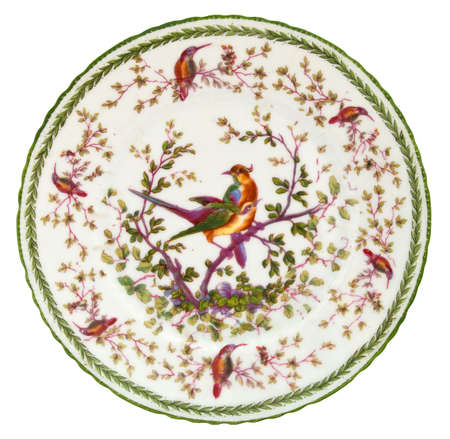 19th century: An antique Paris porcelain plate dating to the mid 19th century - genuine antique series Stock Photo