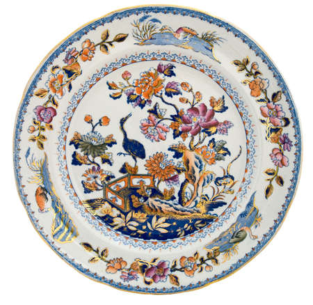 19th century: An antique early 19th century Staffordshire plate with exotic Chinoiserie design - genuine antiques series