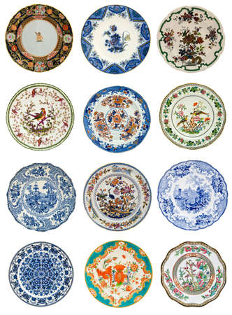 19th century: Twelve antique plates of various design, all 19th century - genuine antiques series