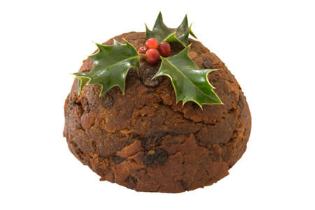 christmas pudding: Tradition Christmas pudding with holly isolated on a white background Stock Photo