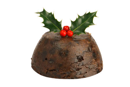pudding: Isolated Christmas pudding with holly & berries