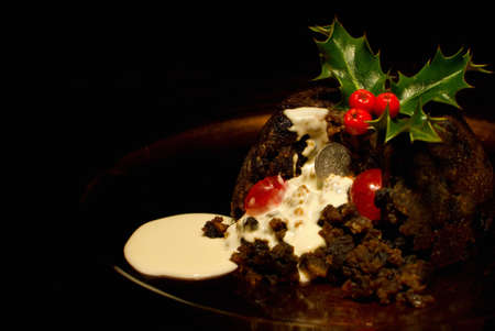 Genuine silver sixpence in a Chirstmas Pudding photo