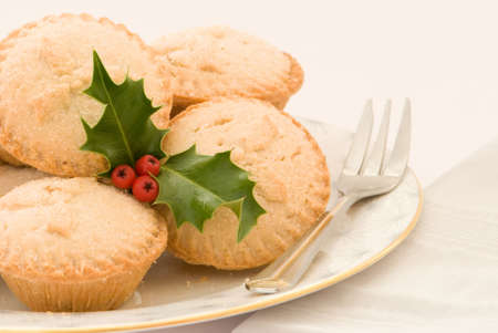 Christmas mince pies with fork photo