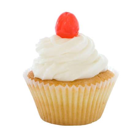 Homemade cupcake iced with a cherry on top photo