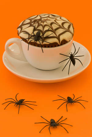 Spiderweb cupcake with spiders for Halloween Stock Photo