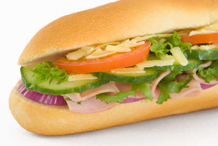 Close up image of ham salad baguette photo