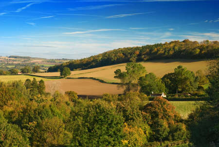 View over the Shropshire hills during Autumn Stock Photo