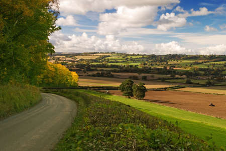 Autumn view over Shropshire from Hughley, UK photo