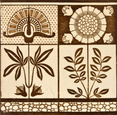 chinoiserie: Panel design tile from the Arts & Crafts period c1890  Stock Photo