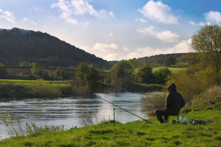 severn: Lone fisherman at the river Severn in Buildwas, Shropshire Stock Photo