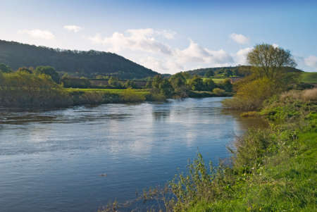 severn: River Severn from the riverbank at Buildwas, Shropshire, UK