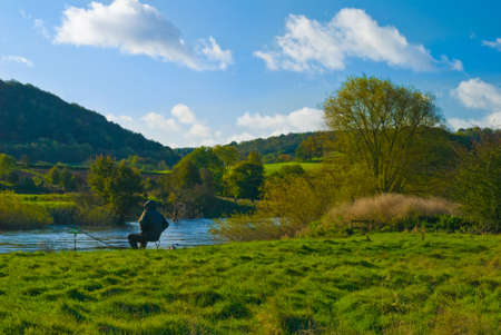 severn: Fisherman at the river Severn, Shropshire, UK