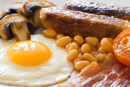 english breakfast: Close up of fried English breakfast