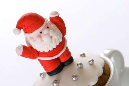christmas cake: Christmas cake with Santa icing decoration Stock Photo