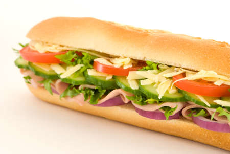 angled view: Angled view of a ham salad baguette sandwich