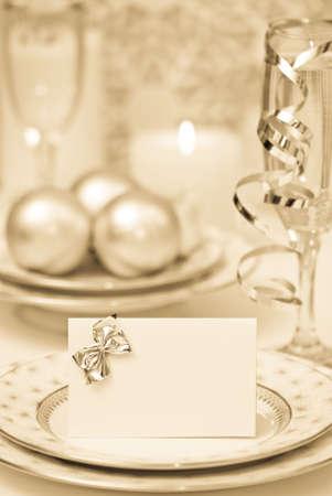 Celebration dinner setting with antique toning photo