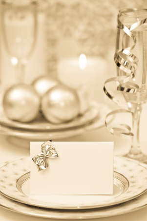 Celebration dinner setting with antique toning Stock Photo