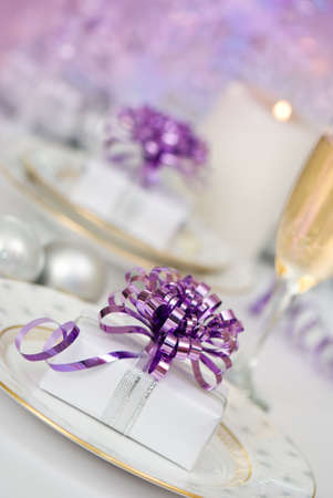 Purple Christmas table setting at angle Stock Photo - 3879878