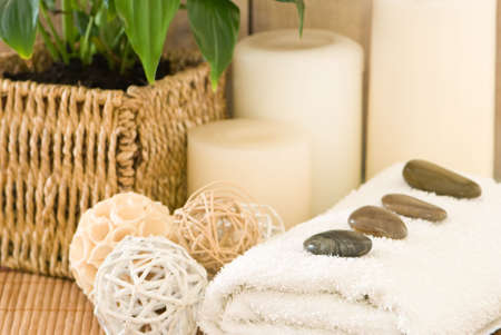 Bathroom setting with towel and candles Stock Photo - 3888174