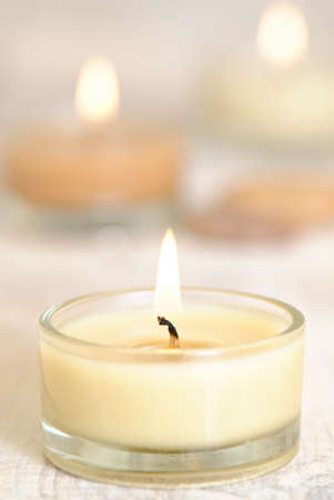 Lit candles creating a relaxing atmosphere photo