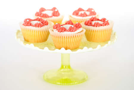 fondant fancy: Tazza of fancy cakes on a white background Stock Photo