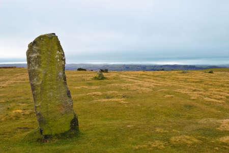 steencirkel: Megalithische periode stenen cirkel c3000 BC - Mitchell's Fold, Shropshire, Verenigd Koninkrijk Stockfoto