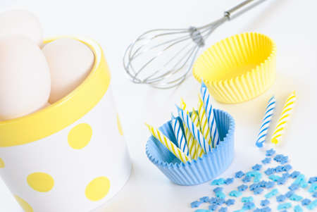 Baking equipment with white eggs photo