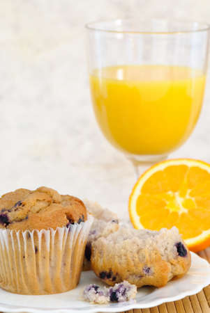 Muffin and orange juice for breakfast photo