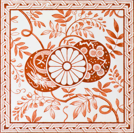 chinoiserie: Abstract of a genuine Victorian patterned tile - Aesthetic period c1880 Stock Photo